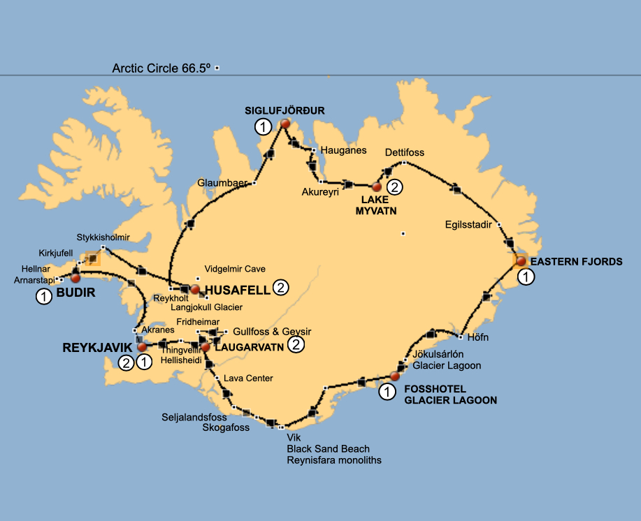 Iceland Tour 2022 Map