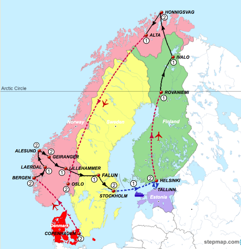 Scandinavia Tour Map 2021